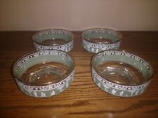 """4 VINTAGE JEANETTE GLASS """"HELLENIC"""" GREEN WEDGEWOOD NAPPY BOWLS GREAT CONDITION"""