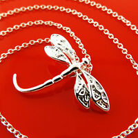 A974 GENUINE REAL 925 STERLING SILVER SF DRAGON FLY STYLE PENDANT NECKLACE CHAIN