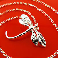 Necklace Chain Real 925 Sterling Silver S/F Ladies Dragon Fly Pendant Design