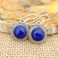 Lapis Lazuli 925 sterling Silver Round blue Drop Earrings Indian Jewellery