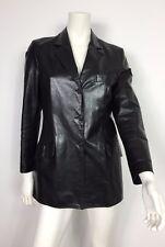 John Ashfield trench corto jacket vera pelle donna nero uxury usato giacca T2821