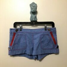 EUC La Rok Sailor Shorts In Blue With Red Zippers 2.