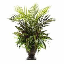 """Nearly Natural 6828 Mixed Areca Palm- Fern & Peacock with Planter- 27"""" NEW"""