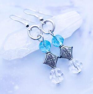 Spring Sky Glass Earrings - Handmade Jewelry - Clear & Blue Glass Beads - Magic