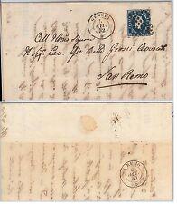 ANTICHI STATI - SARDEGNA : Sassone 2 su BUSTA da  GENOVA a SAN REMO - 1852