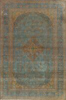 Antique Floral Overdyed Ardakan Hand-knotted Area Rug Wool Oriental 9x13 Carpet