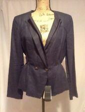 NWT Giorgio Armani Navy Blue Linen Peplum Blazer Jacket Sz 48 US 14 MSRP $1,150