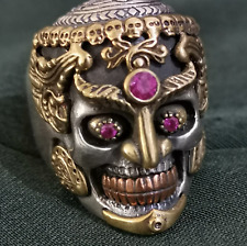 CUSTOM 925 SILVER GOLD CARVED DETAIL HEAVY TIBETAN BUDDHA SKULL MASK BIKER RING