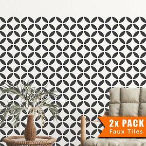 2x Faux Tile Stencils - Paint Tile Effect on Floors Walls Garden Patios -Tsunagi