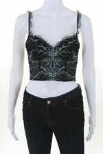 Naory Women's Corset Size 3 Blue Black Mesh Hook Closure V Neck New
