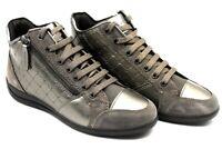 Chaussures pour Femmes GEOX de Tennis Confortable Compensé Casual Gris en Cuir