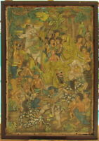 Antique BIG Asian Art Oil on Muslin Signed Detailed Painting 'Dance of Demons'