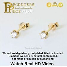 Pair  Stud Earrings 14K Solid Gold 0.10 ct Real Brilliant VIDEO !!