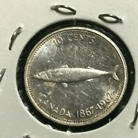 1967 CANADA SILVER 10 CENTS MACKEREL BRILLIANT UNCIRCULATED