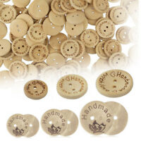 "100x Kit Creme Holz Knopf Knöpfe Wood Button Gravur ""Handmade with love"" 15-20mm"