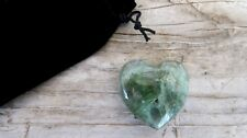 Green Fluorite Healing Crystal Heart 35mm with Black Velour Drawstring Pouch