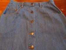 Blue Jean Denim Skirt SZ 10 Long Modest Maxi No Slit Western Button Front 90s