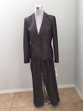 NWT $240 Jones New York Dark Gray Smoked One Button 2 Piece Pant Jacket Suit 6 S