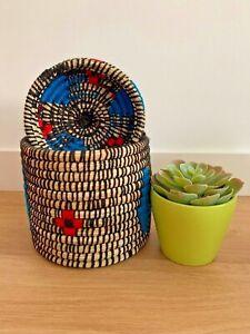 Berber Basket Handwoven Moroccan Wool Lidded - Natural with Geometric Design