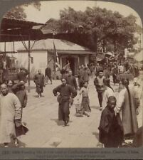 China. Passing life in the land of Confucius. Street in Canton - Stereoview