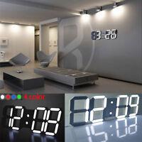 Regolabile Digitale 3D Led Orologio da Parete Sveglia Funzione Snooze 12/24 Ore