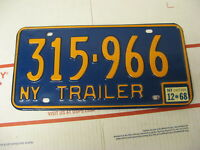 1968 68 New York NY License Plate Trailer 315966 Natural Sticker