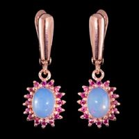 100% NATURAL 8X6MM PRECIOUS OPAL & PINK TOURMALINE ROSE GOLD SILVER 925 EARRING