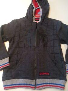BNWT Marvel Spiderman Age 6-7 Boys Zip Up Hoody Cardigan Sweatshirt Grey
