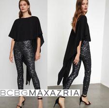$398 NWT BCBG MAXAZRIA High-Low Sequin V-back Jumpsuit BLACK size S