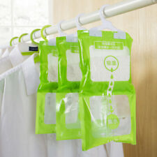 3x Dehumidifier Bags Reusable Moisture Absorber Hanging Wardrobe Drying Agent