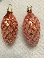 2 Vintage Glass Columbia Pinecones, Feather Tree Ornaments,Brownish Orange Color