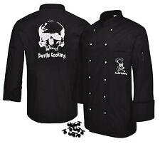 Devils Cooking Kochjacke Skull schwarz Totenkopf-Druck weiß Gr. XS-5XL ★KULT★