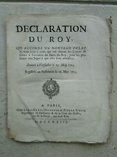 Déclaration du Roy 1723 : LETTRES DE PARDON SACRE DU ROY.
