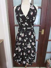 Fusion by Jasmine Guinness for Oli halterneck black floral sun dress, size 18