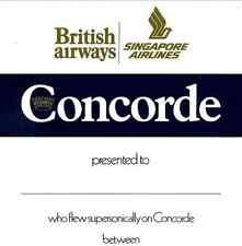 1 Concorde British Airways-Singapore Airlines Flight Certificate Very Rare Cert