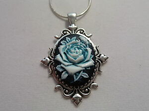 """TEAL ROSE CAMEO NECKLACE 20"""" CHAIN"""