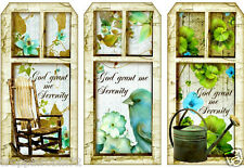 """GOD GRANT ME SERENITY""  SCRAPBOOK CARD EMBELLISHMENTS HANG / GIFT TAGS"