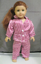 """18"""" American Girl: Doll Clothes - Red & White Stripe Pajamas for PJ's Night"""