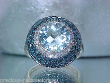$1,299 UNIQUE SPARKLE! 10K BLUE TOPAZ 1.10 CARATS WHITE / BLUE DIAMOND RING