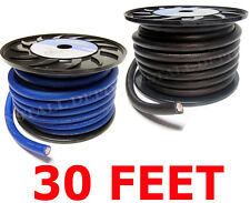 30 FT - PREMIUM 0 GAUGE BLUE POWER + BLACK GROUND WIRE CABLE 1/0 AWG CAR AUDIO