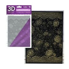 French Lace Embossing Folder Rose Floral Crafter's Companion Folders 3D 5x7