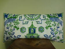 Pillow Cover Oriental Vintage Style Navy Blue Green Off White Pattern Toss