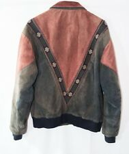 Cripple Creek Faded Red Brown Zip Leather Dual Collar Western Style Jacket Small