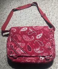 Vera Bradley Laptop shoulder messenger Bag Floral Red Black Paisley Print