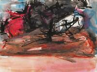 JEANETTE WELTY CHELF Watercolour Painting ABSTRACT IMPRESSIONIST LANDSCAPE c1960