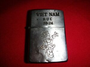 VIETNAM War Year 1973 Zippo Lighter VIETNAM HUE 73-74 And MINNIE MOUSE Logo
