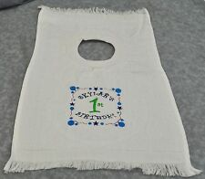 Personalized Embroidered Birthday Large Pull Over Towel Toddler Baby Cotton Bib