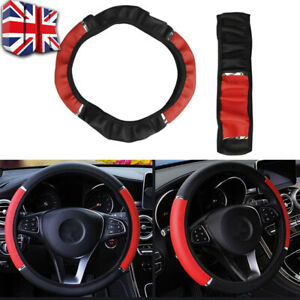"""Universal 15"""" PU Leather Auto Car Steering Wheel Cover Non-slip Black Red UK"""