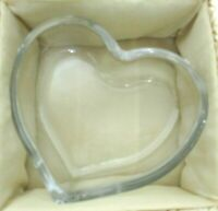 Glass Heart Trinket Dish Bowl décor paperweight in box Small Valentines gift