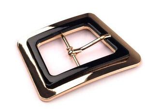 5 x Gold & Black Metal Centre Bar Belt Buckle 45x60 mm